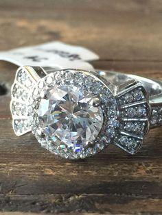 Art Deco Style 2CT Round Cut Halo Russian Lab Diamond Ring