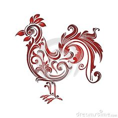 Rooster with Decorative floral ornament, suitable for textile and tattoo design and other use