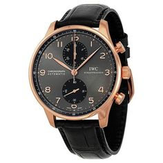 IWC Portuguese Grey Dial Chronograph Rose Gold Leather Automatic Men's Watch (W-IW371482)