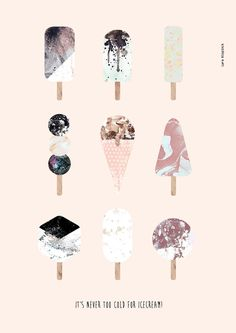 It's never too cold for icecream!  Icecream print  #aquarelle #handdrawn #summer #print #poster #decoration #popscicle #icecream #sweets #chocolate