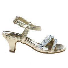Gold low heel metallic dress sandal w rhinestone encrusted strap Metallic Sandals, Metallic Dress, Dress Sandals, Dress Shoes, Evening Sandals, Girls Shoes, Ladies Shoes, Types Of Shoes, Low Heels