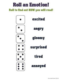 "Roll-a-Dice Freebies by MsJordanReads! Roll-an-Emotion Fluency Activity. I like this as an idea for writing and practicing ""tone."" Obviously, I'd have to come up with some better attitudes, but the idea of rolling the dice is really fun. Teaching Theatre, Teaching Reading, Teaching Tools, Teaching Resources, Theatre Games, Reading Aloud, Teaching Art, Drama Theatre, Theatre Nerds"