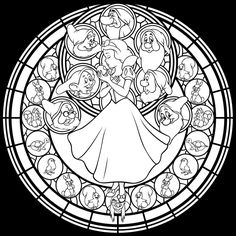 Disney Snow White Stained Glass Coloring Page (Snow White and the Seven Dwarfs) - akili-amethyst.deviantart.com