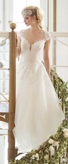 Cap sleeves v neckline A-line wedding dress #weddings #alineweddingdress #bridal