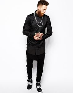 Asos Shirt In Super Longline With Long Sleeves in Black for Men  a777d649f204