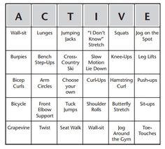 Fitness Bingo Warm-Up