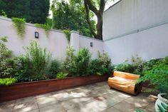 Brooklyn, NYC Backyard: Bluestone Patio, Bench, Planter Boxes, Shade Garden - Contemporary - Landscape - New York - Amber Freda NYC Garden D...