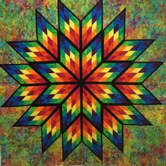 Prismatic Star ~Quiltworx.com, made by CI Ann Troutman Lone Star Quilt Pattern, Barn Quilt Patterns, Star Quilt Blocks, Star Quilts, Quilting Patterns, Canvas Patterns, Image Pinterest, Stained Glass Quilt, Rainbow Quilt