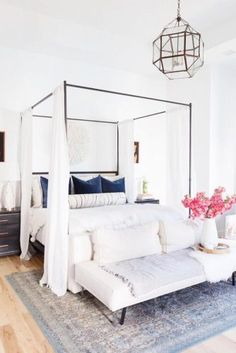 21 Best Canopy Bed Examples To Introduce Into Your Bedroom - Metallic Canopy Bed With White Curtains ★ Best canopy beds ideas, modern and rustic - Canopy Bed Curtains, Canopy Bedroom, White Curtains, Modern Canopy Bed, Metal Canopy Bed, Modern Bedding, White Bedroom Decor, Home Decor Bedroom, Bedroom Inspo