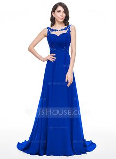 A-Line/Princess Scoop Neck Court Train Chiffon Prom Dress With Ruffle Beading Appliques Lace Sequins (018056786)