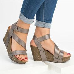 a94d600cd457 Plus Size Adjustable Buckle PU Gladiator Wedge Sandals