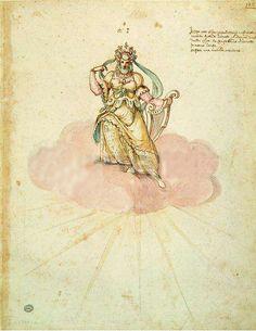 "Costumes for a dorian harmony from the intermezzo ""La Pellegrina"" (1589) by the architect Bernardo Buontalenti. This intermezzo was held in honour of Ferdinand I of Medici and Christine of Lorraine's wedding"