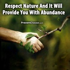 Respect Nature and it will provide you with abundance.