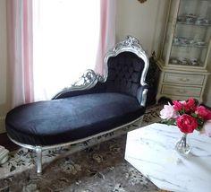 Fainting sofa, black, velvet, silver