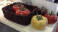 Tomatoes made for Radio X when I was artist of the month Sculptures For Sale, Caramel Apples, Tomatoes, Mosaic, Shapes, Ceramics, Artworks, Food, Artist