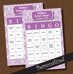 Instant Download BINGO 110 Unique Printable Personalized Bridal Shower Bingo Cards DIY Damask Lilac Lavender Purple Wedding. $6.99, via Etsy.