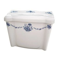 The Blue Amaranth Medallion design is the perfect companion to your Wedgewood, Blue Willow and Blue Delft! #BathroomToilet #DecoratedToilet. By decoratedbathroom.com