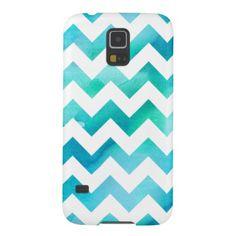 Modern Blue Watercolor Chevron Samsung Galaxy S5 Galaxy S5 Cases