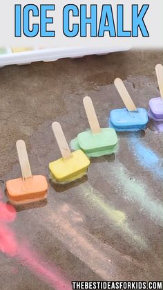 ICE CHALK 🌈 - such a fun activity for kids!