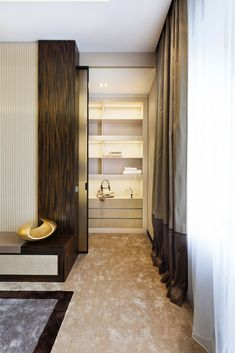 Luxury Home Interior for Elegant Contemporary Home : Shape From Art Deco Home Interior Under Walk Closet Design Used Modern Shelving Furniture Among Beige Brown Interior Ideas Design As Home Inspiration To Your House House Design, Bathroom Interior Design, Apartment Interior, Art Deco Interior, Apartment Interior Design, Bedroom Interior, Interior Design, Luxury Interior, Elegant Interiors