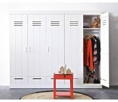 LEF collections Kledingkast 'Connect' 2 deurs lockerdeur wit grenen 195X94X53cm - wonenmetlef.nl