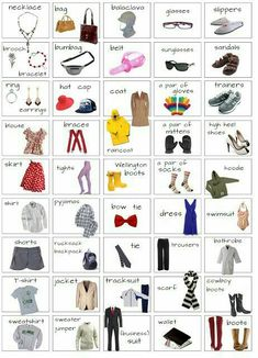 """Clothes & Fashion Accessories"" Vocabulary in English: Items Illustrated - ESL Buzz # clothing accessories vocabulary ""Clothes and Fashion Accessories"" Vocabulary in English: Items Illustrated - ESLBuzz Learning English English Resources, English Activities, English Tips, English Fun, English Study, English Words, English Lessons, Learn English, English Grammar"