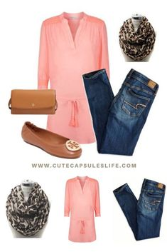 Coral, Leopard and Tory Burch: Classy Trendy fall and winter outfit idea