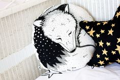Sleepy Fox Organic Hand Printed Cushion Pillow Round by BabeeandMe