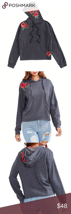 🌹Rose Garden Raw Hem Heather Hoodie, XS-L 🌹Material: 65% Polyester, 30% Cotton, 5% Spandex 🌹Feature: Rose patch embroidered, Raw Hem                            🌹Size: XS-L. See chart Tops