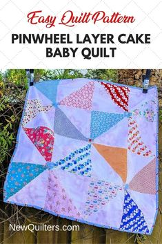 """Quick quilt for a new baby is so simple to make from 10"""" layer cake precut fabric squares. Finished size 36″ x 36″ (91.5 x 91.5 cm). #babyquilt #quiltpatterneasy #quiltingforbeginners #newquilters #pinwheelquilt #precutfriendly Layer Cake Patterns, Easy Quilt Patterns, Baby Quilts Easy, Bright Quilts, Pinwheel Quilt, Quilting For Beginners, Book Quilt, Free Motion Quilting, Pinwheels"""