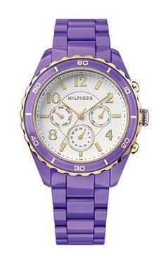 Tommy Hilfiger Watch, Women's Purple Plastic Bracelet