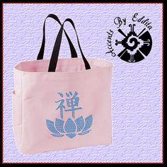Rhinestone Tote Bag Zen Yoga Lotus Flower by AccentsByEddita2, $23.99