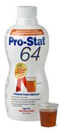 Pro-Stat 64, 30 oz. Bottle Natural flavor by Pro-Stat. $32.99. Delivers the highest concentration of protein and calories in the smallest serving size!. Sugar Free. 15 grams of protein and 60 calories in only 1 ounce!. Hydrolized for rapid absorption. Promotes tissue healing and weight stabilization.. Greater compliance and consumption than with traditional supplements.. Easy to administer - no mixing required, can be administered orally or via feeding tubes.. 30 oz. Bottle o...