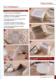 rectangular box and round box . Paper Crafts Origami, Cardboard Crafts, Diy Paper, Fabric Covered Boxes, Fabric Boxes, Bookbinding Tutorial, Wie Macht Man, Cardboard Furniture, Handmade Books