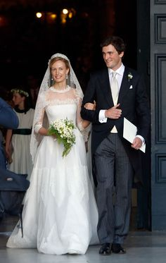 Wedding of Prince Amedeo of Belgium and Elisabetta Maria Rosboch Von Wolkenstein on 05.07.2014 at the Basilica Santa Maria in Trastevere, Rome, Italy.  The bride wore a breathtaking Valentino Haute Couture gown accompanied by a diamond tiara, diamond-and-pearl earrings and a cascading veil.