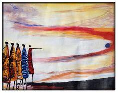 Pointing the way Sunset - P25 This original acrylic paiting was made by Ugandan artist, Davis Muwumba.