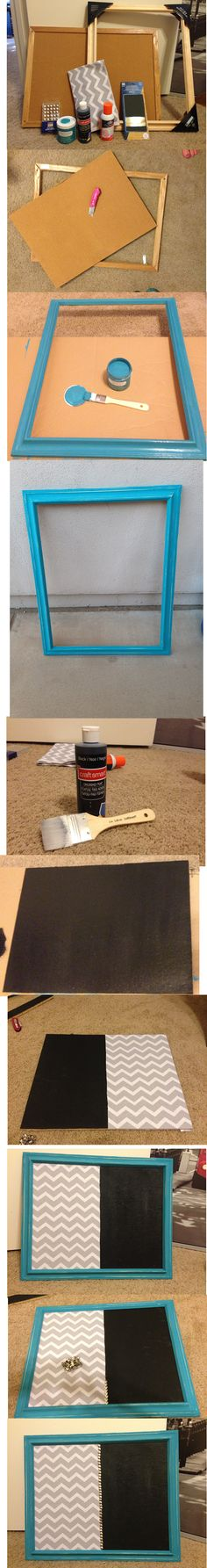 DIY Chalk/Cork Board Time: 2 hours (including drying time)  Cost: ~$30 1-Paint Picture frame.  2-While frame is drying, paint cork board with chalkboard paint.  3-While chalk board paint is drying, you can use sand paper to distress the frame (if desired).  4-Cut Fabric to desired size.  5-Spray adhesive to fabric then immediately put onto board in desired spot.  6-Place in picture frame and adhere it so it doesn't fall out (I used hot glue).  7-To cover the fabric line, I placed silver…