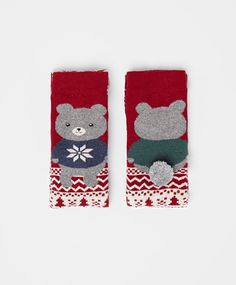 Jacquard bear socks with pompom detail - OYSHO