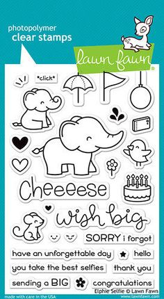 Lawn Fawn  Clear Acrylic Stamps  Elphie Selfie