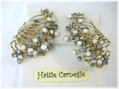 @@ FREE SHIPPING WITHIN USA @@ Hattie Carnegie set the world on fire with her Elegant Rhinestone Jewelry in the Early 1900s. These Beauties are a fine example of her unique designs. Featuring White & Light Blue Rhinestones dangling from Angel Wings, these Beauties are one of Hatties