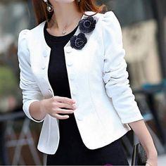 Elegant Double Breasted Jacket Blazers For Women, Coats For Women, Clothes For Women, Blazer Fashion, Fashion Outfits, Black Long Sleeve Dress, Cute Jackets, Kurta Designs, Dress Cuts