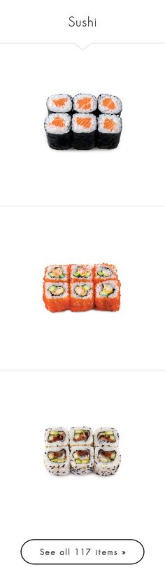 """""""Sushi"""" by giovanna1995 ❤ liked on Polyvore featuring food, fillers, food and drink, food & drink, sushi, backgrounds, filler, detail, embellishment and text"""