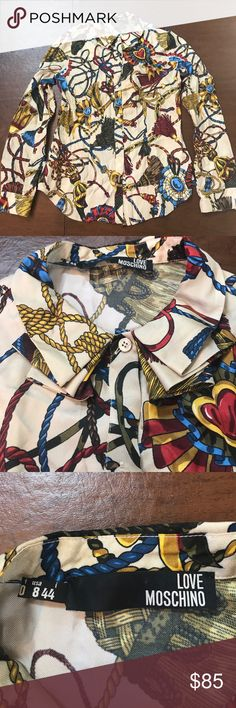 LOVE Moschino Tassel Scarf Print Silk Blouse LOVE Moschino Tassel Scarf Print Silk Blouse. Size US 8 / IT 44. In excellent condition, worn once. Pleated Peter Pan collar, peak buttons, princess darts. Love Moschino Tops Blouses
