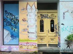 cake men mural, painted on the side of a bakery in Berlin, Germany.     (www.danielleardenomalley.net)