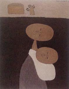 """백영수 """"母子"""" [40.9x31.8cm] 1982"""
