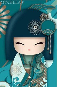 Embroidery On Paper Kimono Dolls, Diamond Painting Kit, Mosaic Cartoon Full Rhinestone Embroidery Needlework -Diamond Paintings, Diamond Paintings Store - Kawaii, Geisha Art, Asian Doll, Japanese Embroidery, Kokeshi Dolls, Cute Illustration, Japan Design, Japanese Art, Japanese Kimono