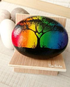 A Pride heart tree painted rock to celebrate Pride Week. : A Pride heart tree painted rock to celebrate Pride Week. Pebble Painting, Pebble Art, Stone Painting, Diy Painting, Beginner Painting, Rock Painting Patterns, Rock Painting Ideas Easy, Rock Painting Designs, Rock Painting Kids