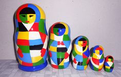 Russian Nesting dolls in style Malevich in by Artworkshop1 on Etsy