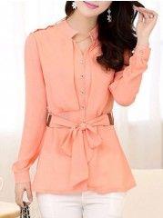 Fashionable&elegant V Neck Blended Pure Blouse