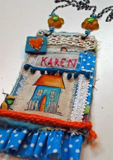 The Art House Studio: Mixed Media Quilted Name Tag